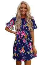 Dark Blue Ruffled Short Sleeve Floral Dress