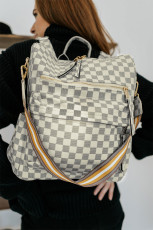 Gray Plaid Pattern Convertible Bag
