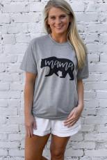 グレーママベアプリント半袖Tシャツ