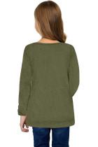 녹색 어린 소녀 긴 소매 단추가 달린 사이드 탑