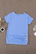 Sky Blue Side Button Detaljerad Kortärmad T-shirt för små flickor