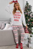 Juego de salón navideño con estampado de reno gris