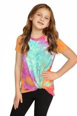 เสื้อยืดเด็กหญิงตัวเล็กสีส้ม Twisted Tie-dye