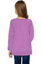 เสื้อแขนยาวเด็กหญิงตัวเล็กสีม่วงติดกระดุมด้านข้าง