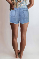 Blaue High Rise Destroyed Denim Shorts