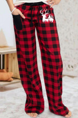 Red Plaid Print Elk Casual Pants