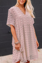 Pink V Neck Pompom Babydoll Style Short Sleeves Flowy Mini Dress