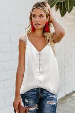 Camiseta sin mangas con botones y tirantes de encaje ajustables blanca