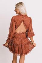 Roestkleurige glittersterren V-hals mini-jurk zonder rug en ruches