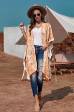 Orange Boho Paisley Print Kimono Beach Mit Quaste abdecken