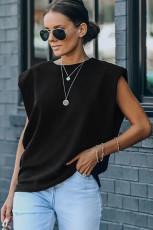 Camiseta sin mangas musculosa acolchada negra