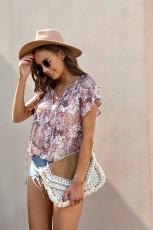Khaki V-neck Lengan Pendek Fashion Cetak Fantasi Berkibar Blus