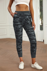 Gray Camouflage Drawstring Joggers