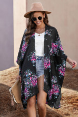 Μαύρο Floral Kimono Sleeves Chiffon Loose Beach Cover Up