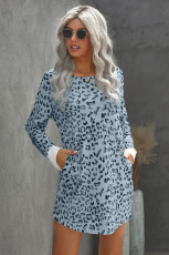 Sky Blue Crew Neck Long Sleeve Leopard Print Mini Dress