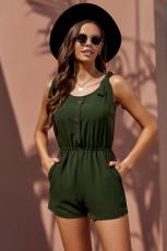 Grüne Krawatten-Ärmel-Knöpfe Taschen Cutie Strampler
