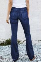 กางเกงยีนส์เอวยางยืดเอวสูงสีน้ำเงิน