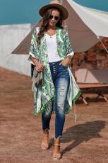 Grüner Boho Paisley Print Kimono Beach Mit Quaste abdecken