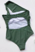 Traje de banho verde de uma peça