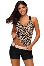 Leopard Strappy Back Tankini Top