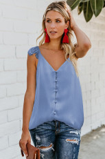 Adjustable Lace Straps Buttons Tank Top