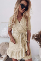 Apricot Bohemian Dotted Print Wrap V Neck Ruffled Mini Dress
