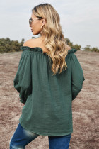Green Off-the-shoulder Ruffle Top