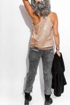 Camiseta sin mangas de lentejuelas con cuello en V y pestañas de albaricoque
