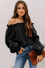 Black Off-the-shoulder Ruffle Top