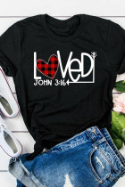Black Valentine's Day Plaid Heart Arrow Loved T-shirt