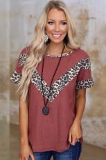 Koszulka z krótkim rękawem Leopard Splicing Waffle Knit