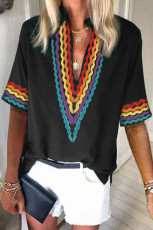 Black Ethnic Colorblock Short Sleeves Top