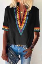 Fekete etnikai Colorblock rövid ujjú felső