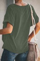 Zielona, gładka koszulka z krótkim rękawem i twistem