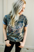 Metallic Rose Gold Ink MAMA Modern Camo Tee