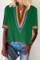 Grön etnisk färgblock med kort ärm
