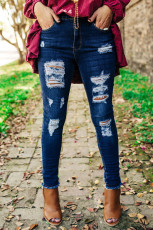 Blue Get Ripped Mid Rise Denim Pants