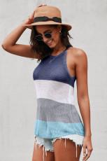 Canotta in maglia a righe a blocchi di colore blu