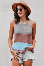 Canotta in maglia a righe multicolor a blocchi di colore