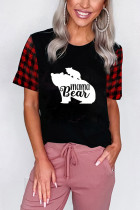 Black mama Bear Letter Print Red Plaid Short Sleeve Tee