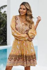 Gul V-udskæring Blomsterprint Langærmet tunika mini kjole