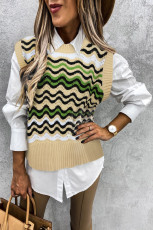 Green Wavy Stripes Knit Vest Pullover Sweater