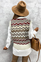 Red Wavy Stripes Knit Vest Pullover Sweater