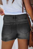Pantalones cortos negros de mezclilla deshilachados de cintura alta