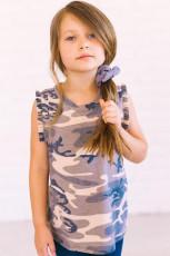 Camiseta sin mangas para niña pequeña con volantes y estampado de camuflaje gris