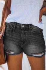 กางเกงขาสั้นเดนิมเอวสูงสีดำขาด ๆ
