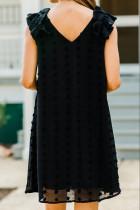 Gaun Mini Tanpa Lengan Hitam Swiss Dot V Neck Mengacak-acak