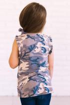 Grå camo-print, vippede armhuller, små pigers tank