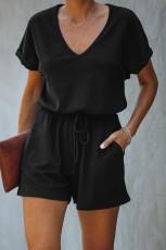 Black Pocketed Knit Romper