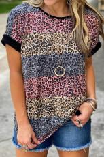 Leopard Striped Colorblock T-paita